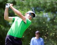 Scott Langley tees off on the eighth hole during the second round of the Travelers Championship at TPC River Highlands. Mandatory Credit: David Butler II-USA TODAY Sports