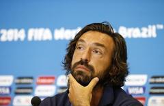 Jogador italiano Andrea Pirlo em coletiva de imprensa na Arena das Dunas, em Natal. 13/6/2014 REUTERS/Toru Hanai
