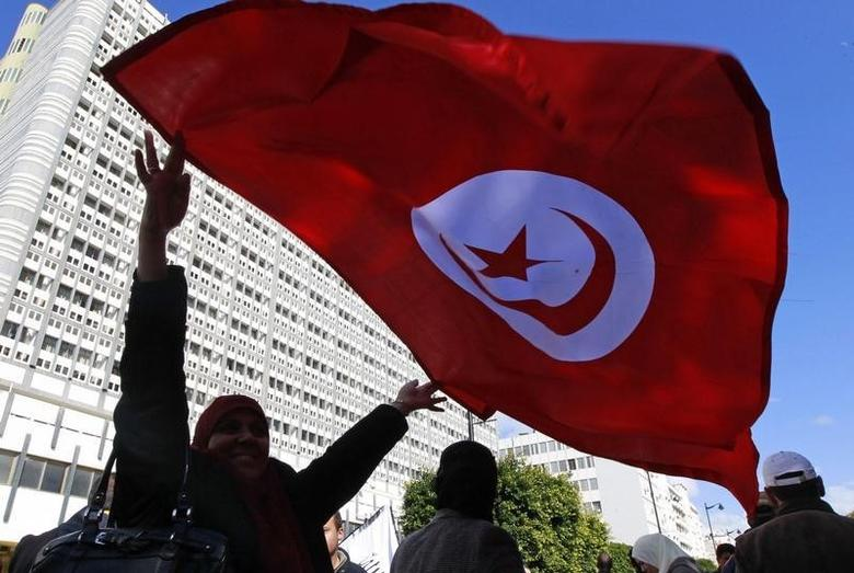 A supporter of the Ennahda ruling party waves a Tunisian flag during a demonstration in Tunis February 16, 2013. REUTERS/Louafi Larbi