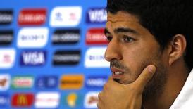 Jogador uruguaio Luis Suárez durante coletiva de imprensa na Arena das Dunas, em Natal. 23/06/2014.  REUTERS/Carlos Barria