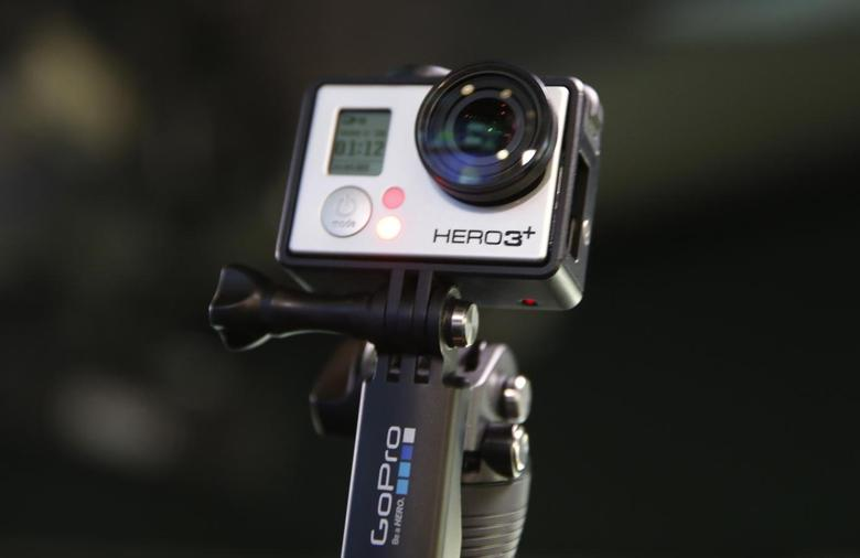 A GoPro Hero 3+ camera is seen at the Nasdaq Market Site before before GoPro Inc's IPO in New York City, June 26, 2014.  REUTERS/Mike Segar