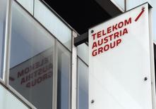Logo de  Telekom Austria en su sede en Viena, 8 de mayo de 2013. Un pacto entre los dos mayores accionistas de Telekom Austria ha obtenido las aprobaciones regulatorias necesarias, lo que significa que la oferta de América Móvil por las acciones en circulación ahora es incondicional. REUTERS/Heinz-Peter Bader