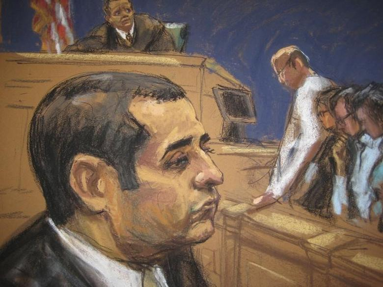 Former New York City police officer Gilberto Valle, dubbed by local media as the ''Cannibal Cop'' during at his trial as seen in this courtroom sketch in New York March 12, 2013. REUTERS/Jane Rosenberg