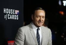"""Cast member Kevin Spacey poses at the premiere for the second season of the television series """"House of Cards"""" at the Directors Guild of America in Los Angeles, California February 13, 2014. Season 2 premieres on Netflix on February 14.   REUTERS/Mario Anzuoni"""