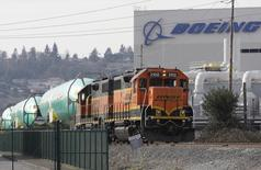 Boeing 737 fuselages are delivered by BNSF train to a Boeing manufacturing site in Renton, Washington February 27, 2014.  REUTERS/Jason Redmond