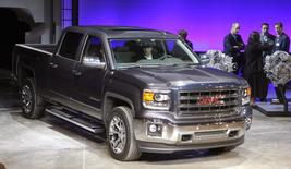 General Motors displays its 2014 GMC Sierra full-size pickup truck after unveiling it and the 2014 Chevrolet  Silverado full-size pickup truck in Pontiac, Michigan in this file photo from December 13, 2012.    REUTERS/Rebecca Cook/Files