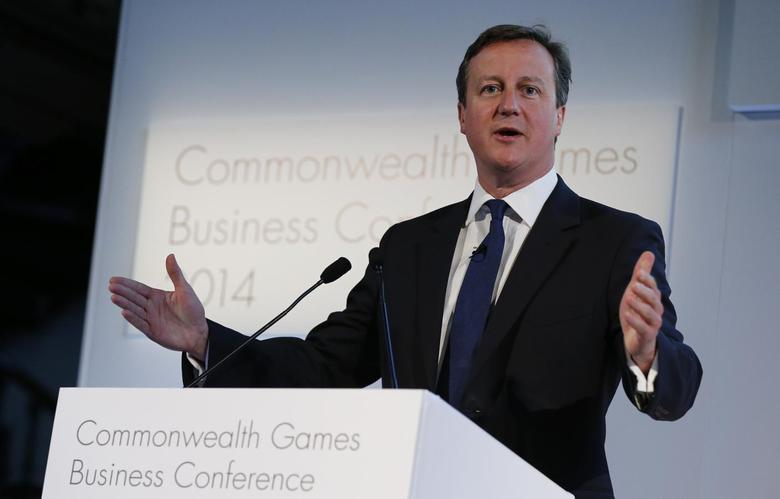 Britain's Prime Minister David Cameron speaks at the Commonwealth Games Business Conference in Glasgow, Scotland, July 23, 2014. REUTERS/Suzanne Plunkett