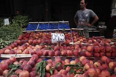 Прилавок с персиками на рынке в Афинах 8 августа 2014 года. Еврокомиссар по сельскому хозяйству в понедельник объявил, что ЕС может предоставить 125 миллионов евро помощи производителям фруктов и овощей, пострадавшим от российского запрета на импорт продовольствия из стран Запада. REUTERS/Alkis Konstantinidis