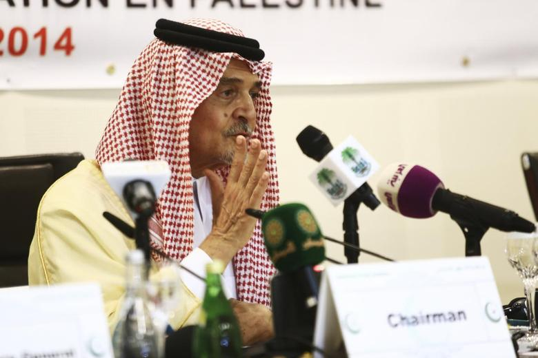 Saudi Foreign Minister Prince Saud al-Faisal addresses a news conference following a meeting of the Organisation of Islamic Cooperation (OIC), on the situation in the Gaza Strip, in Jeddah August 12, 2014. REUTERS/Mohamed Alhwaity