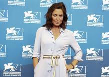 """Diretora de cinema italiana Sabina Guzzanti antes da exibição de """"La trattativa"""" no 71º Fetival de Veneza. 3/09/2014. REUTERS/Tony Gentile"""