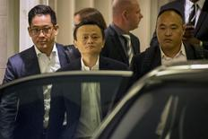 Jack Ma, the founder and executive chairman of Alibaba Group Holding, leaves following the company's road show in New York September 8, 2014. REUTERS/Brendan McDermid