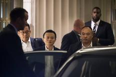 Jack Ma, the founder and executive chairman of Alibaba Group Holding, leaves following the company's roadshow meeting in New York September 8, 2014. REUTERS/Brendan McDermid