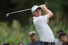Aug 22, 2014; Paramus, NJ, USA; Jimmy Walker tees off on the fifth hole during the second round of The Barclays golf tournament at Ridgewood Country Club. Tommy Gilligan-USA TODAY Sports