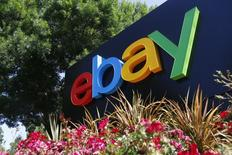 An eBay sign is seen at an office building in San Jose, California May 28, 2014. REUTERS/Beck Diefenbach (UNITED STATES - Tags: BUSINESS LOGO)