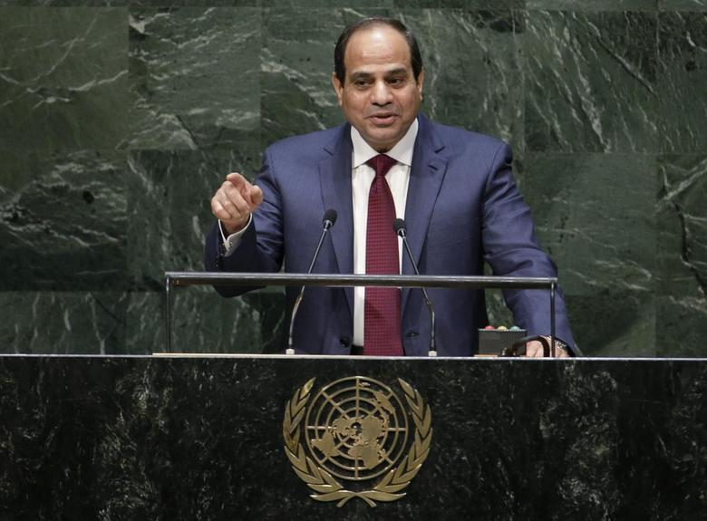 Egypt's President Abdel Fattah al-Sisi addresses the 69th United Nations General Assembly at U.N. headquarters in New York, September 24, 2014.  REUTERS/Mike Segar