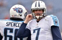 Oct 12, 2014; Nashville, TN, USA; Tennessee Titans quarterback Zach Mettenberger (7) warms up before a game against the Jacksonville Jaguars at LP Field. Mandatory Credit: Don McPeak-USA TODAY Sports