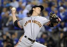 Oct 22, 2014; Kansas City, MO, USA; San Francisco Giants pitcher Tim Lincecum throws a pitch against the Kansas City Royals in the 7th inning during game two of the 2014 World Series at Kauffman Stadium. Mandatory Credit: John Rieger-USA TODAY Sports