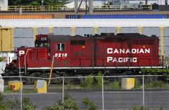 A Canadian Pacific Railway locomotive sits at the Obico Intermodal Terminal in Toronto, May 23, 2012. REUTERS/Mike Cassese