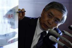 El gobernador de Banco de Japón, Haruhiko Kuroda, señala una pancarta con las decisiones de política monetaria tomadas por el BOJ durante una conferencia de prensa en Tokio, 31 octubre, 2014.  El Banco de Japón sorprendió el viernes a los mercados financieros globales al expandir su gasto masivo de estímulo, en una admisión de que el crecimiento económico y la inflación no han cobrado tanto impulso como se esperaba después de un aumento del impuesto sobre las ventas en abril. REUTERS/Issei Kato