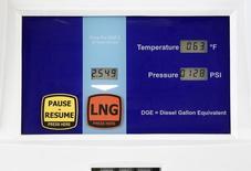 Колонка на газовой автозаправке в Солт-Лейк-Сити 13 марта 2013 года. Государственная нефтегазовая компания Китая Sinopec хочет продать часть контрактов на поставку сжиженного природного газа (СПГ), поскольку замедление экономического роста делает их нерентабельными, сообщили источники. REUTERS/Jim Urquhart