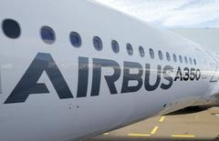 A section of an Airbus A350 is pictured at Airbus headquarters in Toulouse, December 4, 2014.  REUTERS/ Regis Duvignau