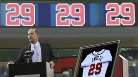 Former Atlanta Braves pitcher John Smoltz addresses the crowd, during a ceremony in which his jersey was retired, before the Braves' MLB Inter-League baseball game against the Toronto Blue Jays at Turner Field in Atlanta, Georgia June 8, 2012.   REUTERS/Tami Chappell