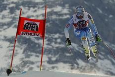 Bode Miller of the U.S. jumps during the men's Alpine Skiing World Cup Downhill training in Wengen January 15, 2015.    REUTERS/Ruben Sprich