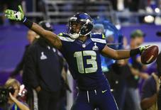 Feb 1, 2015; Glendale, AZ, USA; Seattle Seahawks wide receiver Chris Matthews (13) celebrates after a catch during the second quarter against the New England Patriots in Super Bowl XLIX at University of Phoenix Stadium. Andrew Weber-USA TODAY Sports