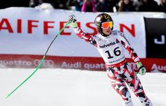 Feb 6, 2015; Beaver Creek, CO, USA; Anna Fenninger of Austria celebrates after her run in the women's downhill during the FIS alpine skiing world championships at Raptor Racecourse. Mandatory Credit: Jeff Swinger-USA TODAY Sports