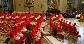 Cardinals attend as Pope Francis leads a mass to create 20 new cardinals during a ceremony in St. Peter's Basilica at the Vatican February 14, 2015. REUTERS/Tony Gentile
