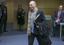 Greek Finance Minister Yanis Varoufakis arrives at an extraordinary euro zone Finance Ministers meeting to discuss Athens' plans to reverse austerity measures agreed as part of its bailout, in Brussels February 11, 2015. REUTERS/Yves Herman