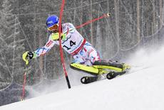 Feb 15, 2015; Beaver Creek, CO, USA; Jean-Baptiste Grange of France during run two of the  men's slalom in the FIS alpine skiing world championships at Birds of Prey Racecourse. Mandatory Credit: Eric Bolte-USA TODAY Sports