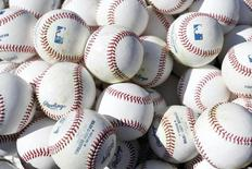 MLB practice baseballs sit on the field before the opening day baseball game between the Chicago Cubs and the Pittsburgh Pirates at PNC Park. Mandatory Credit: Charles LeClaire-USA TODAY