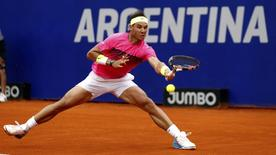 Spain's Rafael Nadal plays a shot during his final tennis match against Argentina's Juan Monaco at the ATP Argentina Open in Buenos Aires, March 1, 2015.   REUTERS/Marcos Brindicci