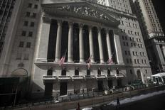 The exterior of the New York Stock Exchange is pictured in the Manhattan borough of New York February 17, 2015.      REUTERS/Carlo Allegri