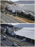 A file combination photograph shows the same location on a street in Miyako, Iwate Prefecture, northeastern Japan on two different dates, March 11, 2011 (top) and February 17, 2012 (bottom). REUTERS/Miyako City Office/Handout via Reuters/Files