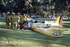 An airplane sits on the ground after crash landing at Penmar Golf Course in Venice, Los Angeles California March 5, 2015. REUTERS/Lucy Nicholson