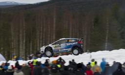 Ott Tanak and Raigo Molder of Estonia drive their Ford Fiesta RS WRC on SS20 during the Rally Sweden second round of the FIA World Rally Championship in Hagfors, February 15, 2015. REUTERS/Micke Fransson/TT News Agency