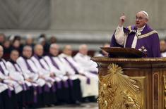 Pope Francis' speaks during the penitential celebration in the St. Peter's Basilica at the Vatican, March 13, 2015. REUTERS/Alessandro Bianchi