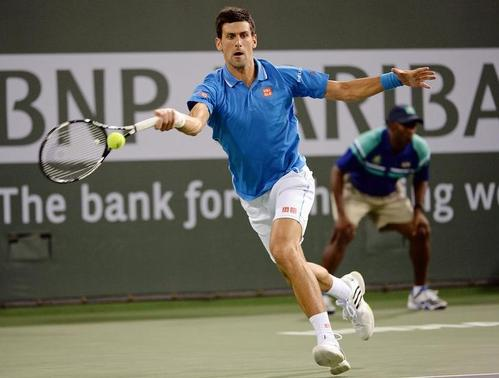 Mar 14, 2015; Indian Wells, CA, USA; Novak Djokovic (SRB) during his second round match against Marcos Baghdatis (CYP) in the BNP Paribas Open at the Indian Wells Tennis Garden. Djokovic won 6-1, 6-3.  Mandatory Credit: Jayne Kamin-Oncea-USA TODAY Sports