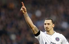 Zlatan Ibrahimović durante partida contra o Bordeaux.  15/03/2015  REUTERS/Regis Duvignau
