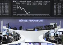 A l'exception de la Bourse de Londres, les marchés actions européens sont en baisse mercredi à la mi-séance. Vers 12h40, le CAC 40 perd 0,29% à Paris, le Dax abandonne 0,92% à Francfort mais le FTSE avance de 0,64% à Londres. /Photo d'archives/REUTERS/Stringer/Remote