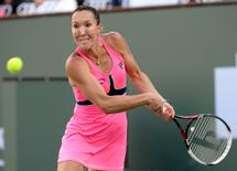 Jelena Jankovic (SRB) during her match against Madison Keys (USA)  at the BNP Paribas Open at the Indian Wells Tennis Garden. Mandatory Credit: Jayne Kamin-Oncea-USA TODAY Sports
