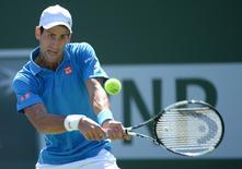 Mar 21, 2015; Indian Wells, CA, USA; Novak Djokovic (SRB) during his semi final match against Andy Murray (GBR) during the BNP Paribas Open at the Indian Wells Tennis Garden. Jayne Kamin-Oncea-USA TODAY Sports