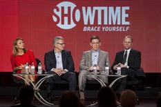"Members (L-R) of the show ""60 Minutes Sports"" Lara Logan, Armen Keteyian, Bill Owens, and Jeff Fager speak on stage during the Showtime panel presentation of the 2013 Winter Television Critics Association Press Tour in Pasadena, California January 12, 2013. REUTERS/Bret Hartman"
