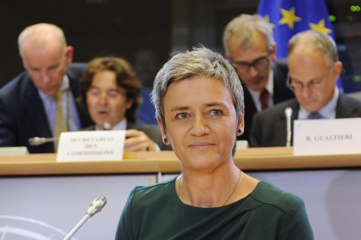 Competition European Commissioner-designate Margrethe Vestager of Denmark addresses the European Parliament's Committee on Economic and Monetary Affairs, at the EU Parliament in Brussels October 2, 2014.       REUTERS/Eric Vidal