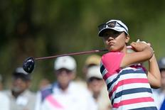 Lydia Ko tees off on the second hole during the first round of the ANA Inspiration at Mission Hills CC - Dinah Shore Tournament Course. Mandatory Credit: Jake Roth-USA TODAY Sports