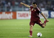 Capitão da seleção venezuelana, Juan Arango, durante partida contra o Equador, em foto de arquivo. 19/10/2012    REUTERS/Carlos Garcia Rawlins