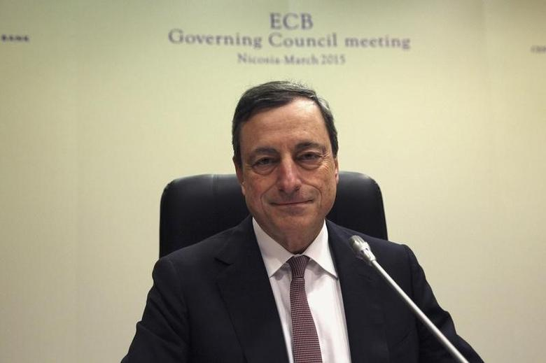 European Central Bank (ECB) President Mario Draghi addresses a news conference following the ECB Governing Council meeting in Nicosia March 5, 2015. REUTERS/Yiannis Kourtoglou