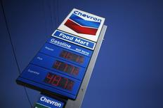A sign advertising gas prices is seen at a Chevron station in Los Angeles, California March 4, 2015. REUTERS/Lucy Nicholson